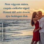 Nem vágyom másra, csupán csókolni téged. Hosszú idő után érzem, újra boldogan élek.