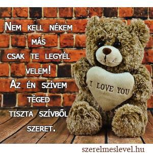 Nem kell nékem más csak te legyél velem! Az én szívem téged tiszta szívből szeret.