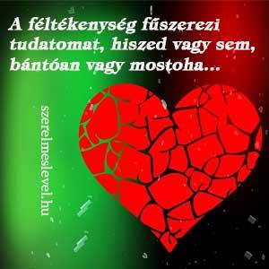 A féltékenység fűszerezi tudatomat, hiszed vagy sem, bántóan vagy mostoha...