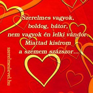 Szerelmes vagyok, boldog, bátor, nem vagyok én lelki vándor. Miattad kisírom a szemem százszor...