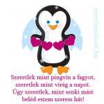 Szeretlek mint pingvin a fagyot, szeretlek mint virág a napot. Úgy szeretlek, mint senki mást beléd estem szeress hát!