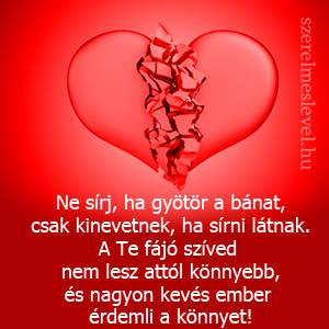 Ne sírj, ha gyötör a bánat, csak kinevetnek, ha sírni látnak. A Te fájó szíved nem lesz attól könnyebb, és nagyon kevés ember érdemli a könnyet!
